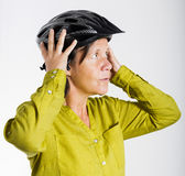 Woman with bicycle helmet Stock Photo