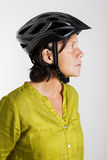 Woman with bicycle helmet Stock Photography