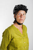 Woman with bicycle helmet Stock Photos