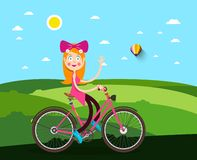 Woman on Bicycle with Meadow. On Background vector illustration