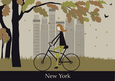 Woman on the bicycle in New York. Royalty Free Stock Images