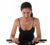 Woman On Bicycle Royalty Free Stock Photos