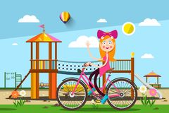 Woman on Bicycle in Park with Playground. On Background - Vector Illustration stock illustration