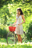 Woman on bicycle Royalty Free Stock Image