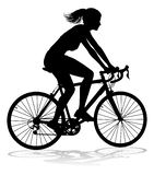 Woman Bike Cyclist Riding Bicycle Silhouette. A woman bicycle riding bike cyclist in silhouette vector illustration
