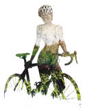 Woman with a bicycle. Silhouette of a naked woman with bicycle combined with a nature. Double exposure on a white background Royalty Free Stock Photography