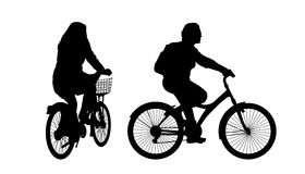 Woman on bicycle silhouettes set 2 Royalty Free Stock Image