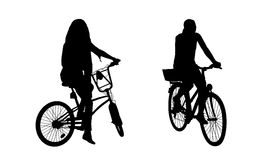 Woman on bicycle silhouettes set 1 Stock Images