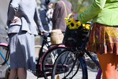 Woman on bicycle in the spring. Riga. Latvia Royalty Free Stock Photo