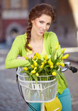 Woman with a bicycle on the streets of old Paris Royalty Free Stock Photo