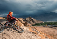 Woman bicycle traveler Stock Images