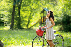 Woman on bicycle Royalty Free Stock Photography