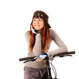 Woman bicyclist. Young smiling woman bicyclist isolated on white Stock Image