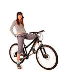 Woman bicyclist Stock Photography