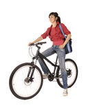 Woman bicyclist. Young woman bicyclist isolated on white, studio shot Royalty Free Stock Photo
