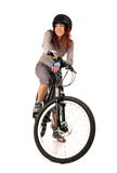 Woman bicyclist isolated on white. Royalty Free Stock Photography