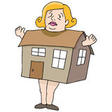 Woman Big As House Royalty Free Stock Images