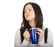 Woman with big blue cup Stock Photo