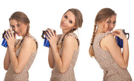 Woman with big blue cup Stock Photography