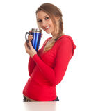Woman with big blue cup Royalty Free Stock Image