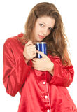 Woman with big blue cup Royalty Free Stock Images
