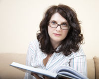 Woman with big book Royalty Free Stock Image