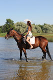 Woman with big brown horse Stock Images