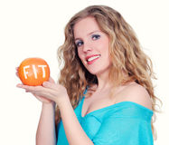 Woman with big citrus fruit Royalty Free Stock Photo