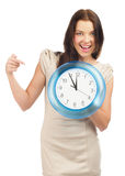 Woman with big clock Stock Photos