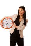 Woman with big clock smiling prepared on time. Stock Image