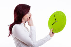 Woman with big clock Royalty Free Stock Image