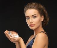 Woman with big diamond. Beautiful woman in evening dress with big diamond Royalty Free Stock Photos