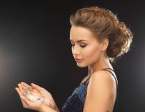 Woman with big diamond Stock Image