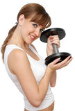 Woman with big dumbbell. On a white background Royalty Free Stock Image