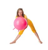 Woman with big fitball Royalty Free Stock Photography