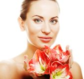 Woman with big flower stock photography