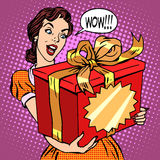 Woman and big gift box Stock Photo