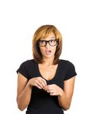 Woman with big glasses who made a mistake Royalty Free Stock Photo