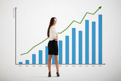 Woman with big graph Royalty Free Stock Images