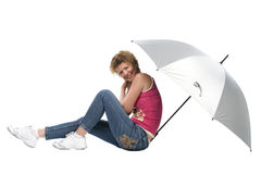 Woman with big grey umbrella Royalty Free Stock Images