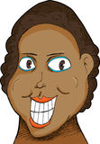 Woman with Big Grin. Caricature of a Black woman with big grin over white stock illustration