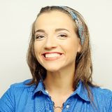 Woman with big happy smile. Young woman with big happy smile stock photography