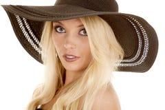 Woman big hat close look serious Royalty Free Stock Photos