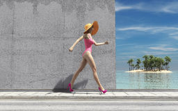 Woman with big hat. Passes a wall to the beach. This is a 3d render illustration Stock Image