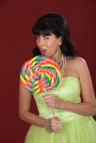 Woman With Big Lollipop Royalty Free Stock Photos