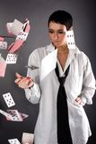 Woman in big man shirt and tie Royalty Free Stock Photo