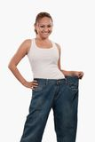 Woman in big pants Royalty Free Stock Photo