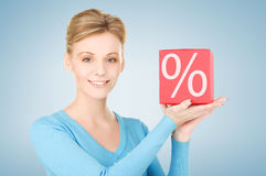 Woman with big percent box Stock Photo