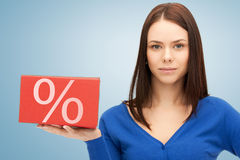 Woman with big percent box Royalty Free Stock Photography