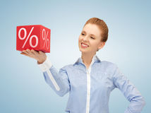 Woman with big percent box Stock Image